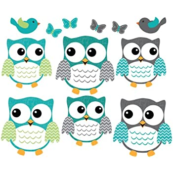 Perfect Owl Decals, Teal And Gray Owl Wall Stickers, Nursery Wall Art Part 19