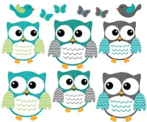 Owl Decals, Teal And Gray Owl Wall Stickers, Nursery Wall Art