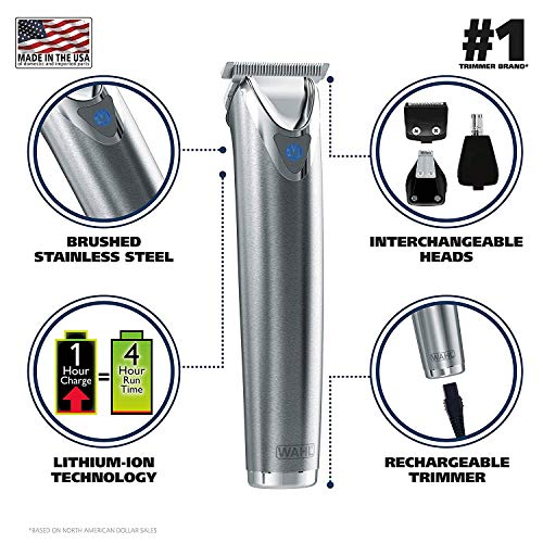 Stainless Steel Beard Trimmer, Hair Clippers, Shavers, Nose Ear Trimmers, Rechargeable - 110-220 Volts Dual Voltage (with Tmvel Worldwide UK/US/AU/EU European Plug Adapter)... (Best Rechargeable Hair Clippers Uk)