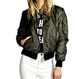 Womens Fashion Classic Quilted Jacket Short Bomber Jacket Coat (Green)