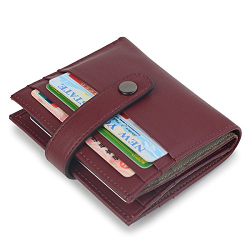 Wine Red Proprietary Red (Women's RFID Blocking Small Compact Bifold Leather Pocket Credit Card Wallet Ladies Mini Purse (Wine Red))