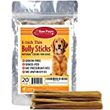 Raw Paws Thin Bully Sticks 6 inch - Small Bully Sticks for Puppies - USDA, Grass Fed, No Hormones, Free Range Cows - Bull Pizzle Sticks - Puppy Bully Bones for Small Dogs - Skinny Steer Sticks (20 ct)