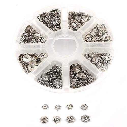 Aprilsky 650 pcs Assorted Antique Silver Spacer Metal Bead Caps Tibetan Silver Charms for Jewelry Making Mix Lot with Container