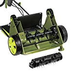 "Sun Joe AJ801E 13 in. 12 Amp Electric Scarifier + Lawn Dethatcher w/Collection Bag, Green 10 <p>LET YOUR LAWN BREATHE. Get your lawn in top green shape with the Sun Joe Dethatcher Joe AJ801E 12.6-inch electric scarifier + lawn dethatcher. Powered by a robust 12-amp motor, the Dethatcher Joe rakes a 12.6-inch wide path in a single pass to get your job done fast. Enhancing its raking ability is Airboost technology, which maximizes thatch pickup with spring steel tines that stay sharp longer for reliable performance. Use the 5-position depth control knob to tailor the raking depth from -0.4 in. (10 mm below the soil) to 0.4 in. (10 mm above the soil), depending on your lawn's scarifying or dethatching needs. Scarifying your lawn at regular intervals cuts grass roots and encourages growth for thicker, healthier turf. Thatch is a dense mat of roots, stems and grass clippings that accumulates on lawns over time, blocking the flow of water, oxygen and vital nutrients. It is important to periodically remove thatch in order to keep your lawn green and healthy. While ordinary manual rakes are tiresome to use and not very effective, the electric Dethatcher Joe starts instantly with the push of a button and easily gets the job done without polluting the atmosphere with toxic carbon emissions. No gas, oil or tune-ups make the Sun Joe Dethatcher Joe your green choice for greening your lawn. ETL-approved. 2-year warranty. Powerful: 12-amp motor rakes a 13"" wide path to get your job done faster Adjustable deck: tailor raking depth with 5-position depth control Scarified: use the Scarified function to cut grass roots for thicker growth, healthier lawns Air boost technology: spring Steel tines for maximum thatch pickup Accessories: detachable thatch collection bag for easy disposal We've got you covered! : your new Dethatched is backed by the snow Joe + Sun Joe customer promise. We will warrant New, powered products for two years from the date of purchase. No questions asked. Contact snow Joe + Sun Joe customer Support at 1-866-766-9563 for further assistance.</p>"