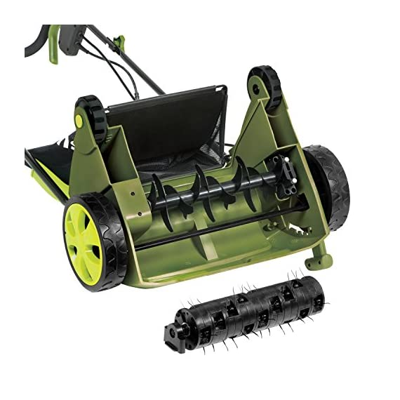 "Sun Joe AJ801E 13 in. 12 Amp Electric Scarifier + Lawn Dethatcher w/Collection Bag, Green 5 <p>LET YOUR LAWN BREATHE. Get your lawn in top green shape with the Sun Joe Dethatcher Joe AJ801E 12.6-inch electric scarifier + lawn dethatcher. Powered by a robust 12-amp motor, the Dethatcher Joe rakes a 12.6-inch wide path in a single pass to get your job done fast. Enhancing its raking ability is Airboost technology, which maximizes thatch pickup with spring steel tines that stay sharp longer for reliable performance. Use the 5-position depth control knob to tailor the raking depth from -0.4 in. (10 mm below the soil) to 0.4 in. (10 mm above the soil), depending on your lawn's scarifying or dethatching needs. Scarifying your lawn at regular intervals cuts grass roots and encourages growth for thicker, healthier turf. Thatch is a dense mat of roots, stems and grass clippings that accumulates on lawns over time, blocking the flow of water, oxygen and vital nutrients. It is important to periodically remove thatch in order to keep your lawn green and healthy. While ordinary manual rakes are tiresome to use and not very effective, the electric Dethatcher Joe starts instantly with the push of a button and easily gets the job done without polluting the atmosphere with toxic carbon emissions. No gas, oil or tune-ups make the Sun Joe Dethatcher Joe your green choice for greening your lawn. ETL-approved. 2-year warranty. Powerful: 12-amp motor rakes a 13"" wide path to get your job done faster Adjustable deck: tailor raking depth with 5-position depth control Scarified: use the Scarified function to cut grass roots for thicker growth, healthier lawns Air boost technology: spring Steel tines for maximum thatch pickup Accessories: detachable thatch collection bag for easy disposal We've got you covered! : your new Dethatched is backed by the snow Joe + Sun Joe customer promise. We will warrant New, powered products for two years from the date of purchase. No questions asked. Contact snow Joe + Sun Joe customer Support at 1-866-766-9563 for further assistance.</p>"