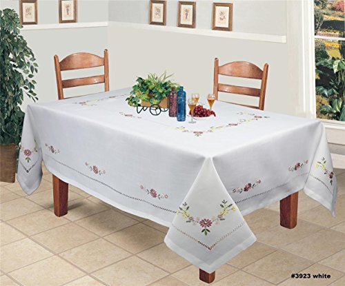 Creative Linens Hemstitch Embroidered Daisy Flower Tablecloth 70x90 Rectangular Table Cover White