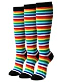OSABASA Womens Casual Stripe Knee High Socks 3Pairs 1 Set Pack with Multi Colors