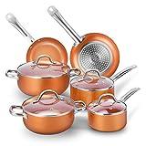 CUSIBOX Cookware Set Pan & Pot Set 10 Piece, Stock Pot, Saute Pan, Saucepan,Glass Lid |Induction | Nonstick |