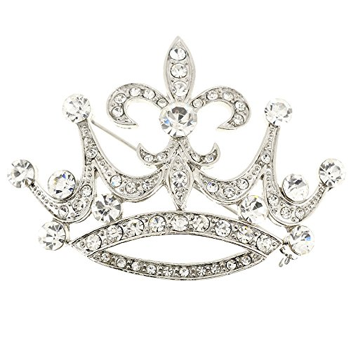 Silver Crystal Crown Pin (Vintage Style Silver Fleur-De-Lis Crown Crystal Pin Brooch)