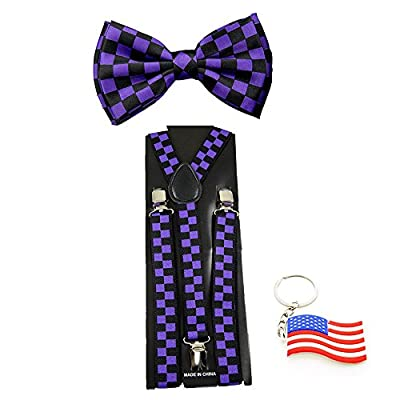 "Suspender & Bowtie ""Purple Checkers"" Y-back Clip on Adjustable Free USA Keychain"