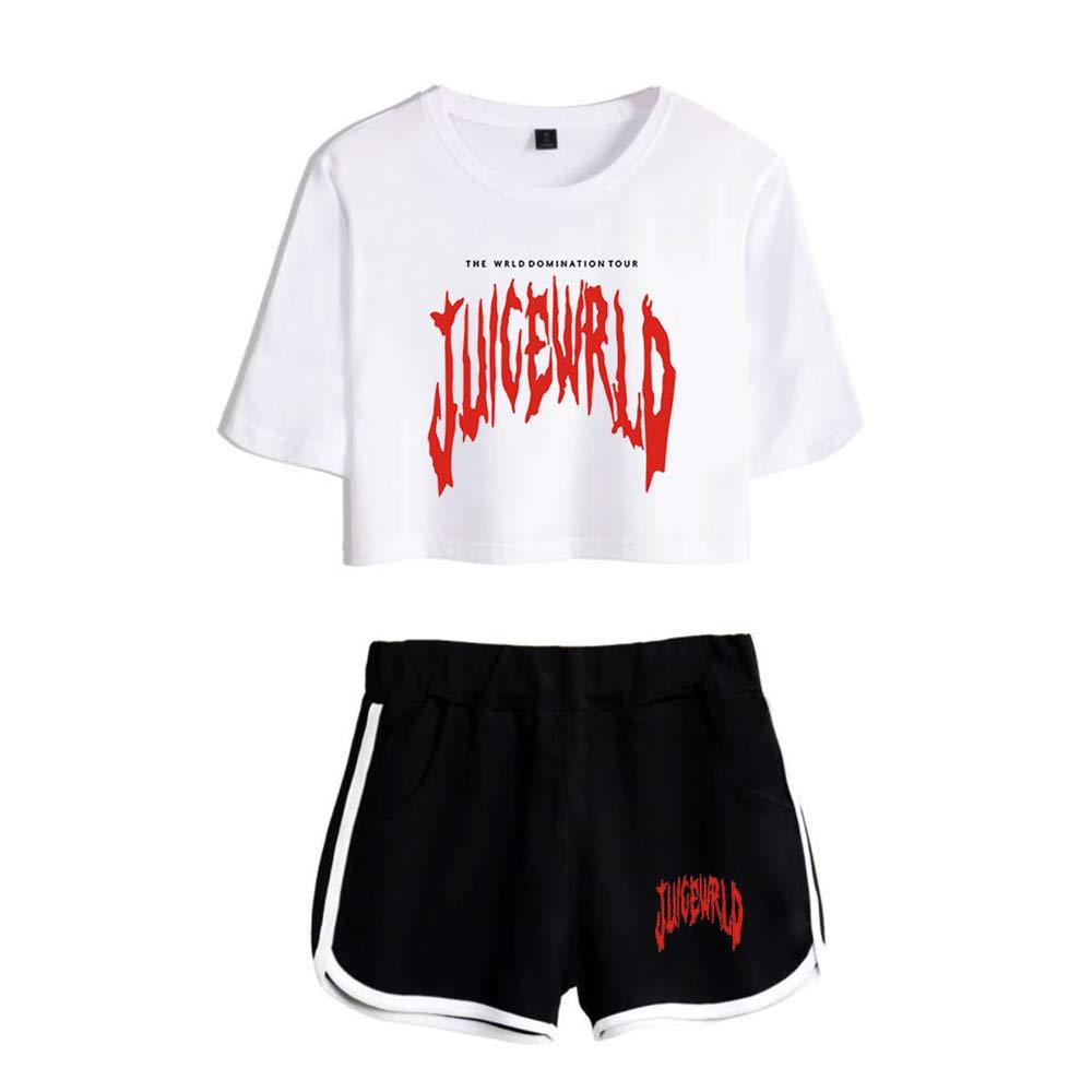 Juice Wrld T-Shirts und Hosen Set Sportswear-Sets f/ür Damen Top /& Kurze H/öschen Bekleidungssets Sportbekleidung Freizeitkleidung Blusen T-Shirt