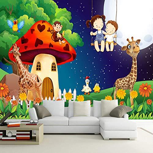 3D Wallpaper Green Forest Cartoon Mushroom Room Moon Giraffe Large Murals for Kids Room Children Bedroom Decor Mural - Metal Forest Green Powder