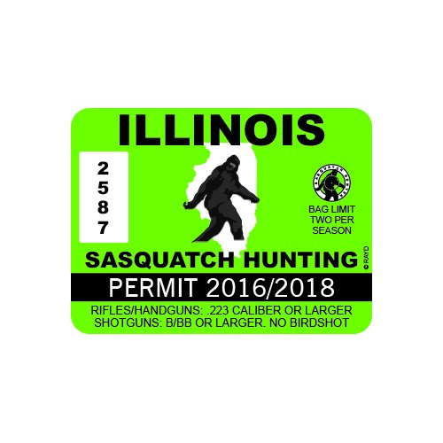 RDW Illinois Sasquatch Hunting Permit - Color Sticker - Decal - Die Cut
