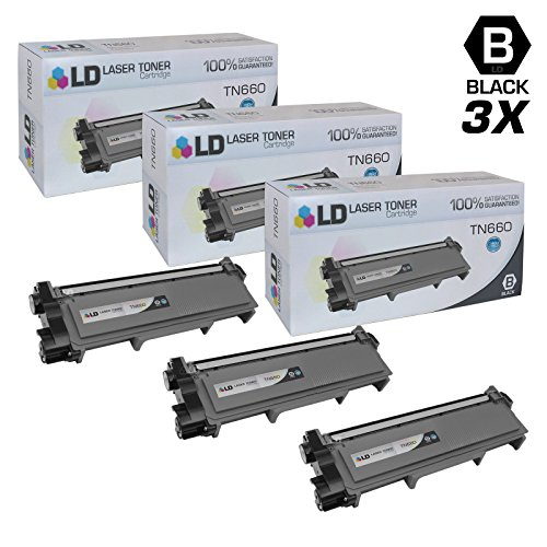 LD © Compatible Replacements for Brother TN660 3PK HY Black Laser Toner Cartridges for Brother DCP L2520DW, L2540DW, HL L2300D, L2320D, 2340DW, L2360DW, L2380DW, & MFC L2700DW, L2707DW, L2720DW, L2740DW