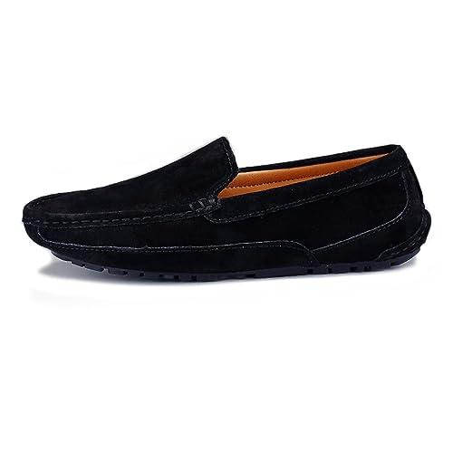 Mocasines de Conducción de los Hombres Trabajo Hecho a Mano Sutura Gamuza Mocasines de Cuero Genuino Zapatos Náuticos: Amazon.es: Zapatos y complementos