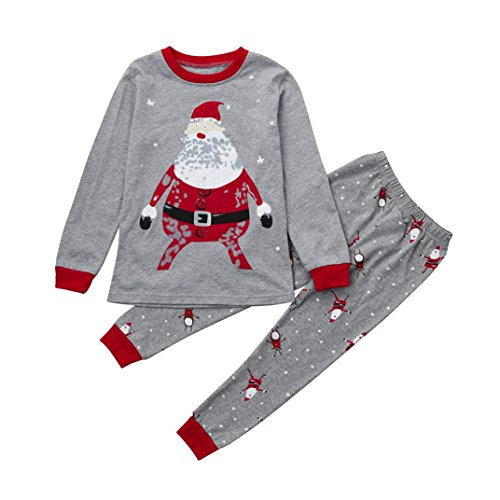 Xmas Toddler Baby Boy Girl Kids Outfit Clothes Santa Claus Print Tops+Pants Christmas Home Pajamas Set 2-7T (5-6 Years Old, (Santa 2 Piece Set)