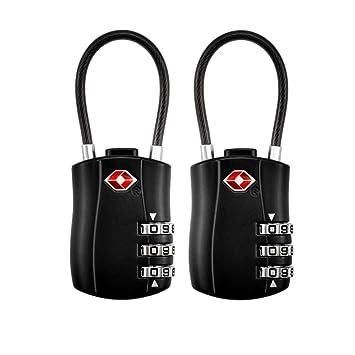 Candados combinacion (2 Pack), Candado de Seguridad TSA con Combinación de 3 Dígitos,Candados Combinación para Equipaje Maleta o Bolsa de Viaje: Amazon.es: ...