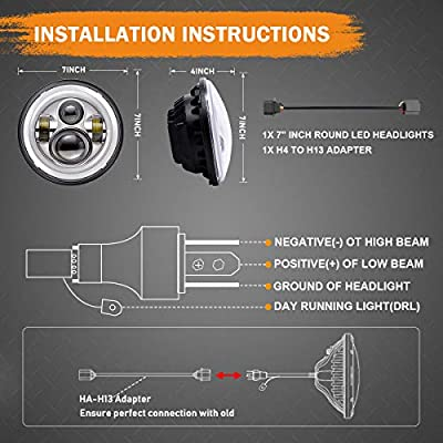 7 inch LED Headlight Fog Passing Lights DOT Kit Set Ring Motorcycle Headlamp Ring for Harley Davidson Touring Road King Ultra Classic Electra Street Glide Tri Cvo Heritage Softail Deluxe Fatboy Chrome: Automotive