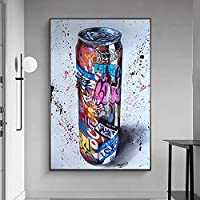 Black and White Oil Painting Vintage Beautiful Canvas Painting Graffiti Art Drink Bottle Abstract Canvas Painting Poster…