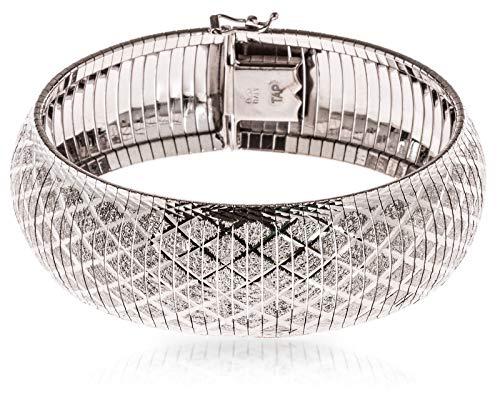Plated Gold Silver Trinket Crystal (SilverLuxe 925 Sterling Silver Diamond Cut Wide Cleopatra Omega Bracelet 7.25