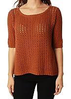 Lucky Brand Women's Scoop Neck Half Sleeve Open Weave Sweater