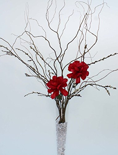 Green Floral Crafts DIY Giant Red Peonies, Curly Willow & Pussy Willow - Vase NOT Included