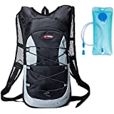 haoYK 12L Waterproof Backpack Lightweight Hydration Bladder Bag Sport Water Bag (2L) with Reflective for Women Men Running Ski Hiking Cycling Bike Mountain