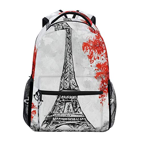 - A Seed Backpack School Bag Paris Eiffel Tower Autumn Painting for Boy Girl