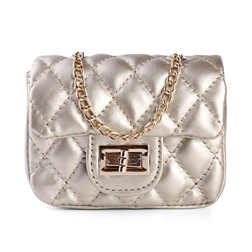 Diamond Quilted Flap Shoulder Handbag Cross body Purse Clutch w, Chain Strap, Gold