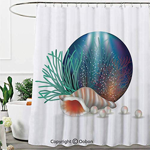 Oobon Shower Curtains, Underwater World with Shelled Mollusk Corals Pearls Crystalline Form Sea Nautical Theme, Fabric Bathroom Decor Set with Hooks, 72 x 84 Inches