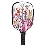 Flower Fashion Racket Cover,Garden Pink Florals Buds Leaves Swirls Romantic Modern Art for Playground,8.3″ W x 11.6″ H