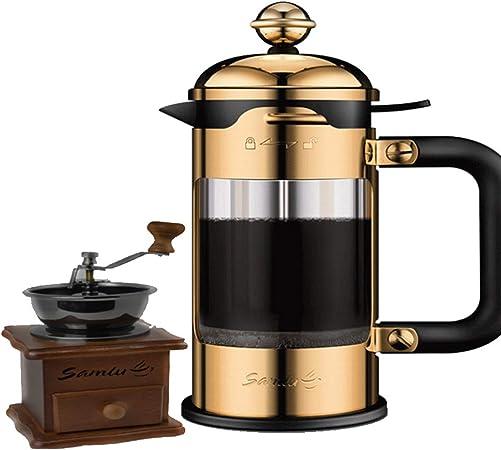 Prensa francesa cafetera, cafetera espresso de acero inoxidable y molino de café set de café de vidrio resistente al calor tetera,Gold,600ml: Amazon.es: Hogar