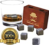 Image of Premium Whiskey Stones by Gentleman's Choice - Gift Set of 9 Chilling Rocks - 100% Pure Soapstone - Packaged in an Exclusive Wooden Box + Velvet bag - Extra Bonus: 8 eBooks for FREE!