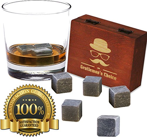 Premium Whiskey Stones by Gentleman's Choice - Gift Set of 9 Chilling Rocks - 100% Pure Soapstone - Packaged in an Exclusive Wooden Box + Velvet bag - Extra Bonus: 8 eBooks for FREE!