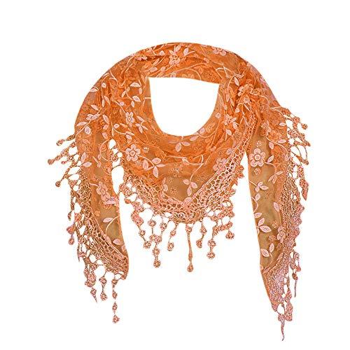 ZTY66 Lace Tassel Sheer Burnt-Out Floral Print Triangle Mantilla Scarf Shawl Neck Wrap (Orange)