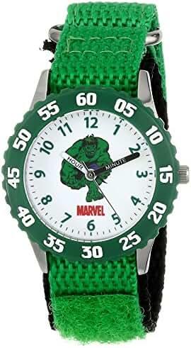 Marvel Kids' W001478 Hulk Stainless Steel with Green Bezel, Green Nylon Strap, Analog Display, Analog Quartz, Green Watch