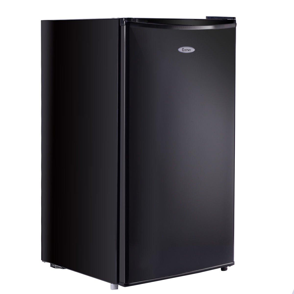 Costway Min Refrigerator Small Freezer Cooler Fridge,3.2 Cu Ft Unit, Stainless Steel,Black