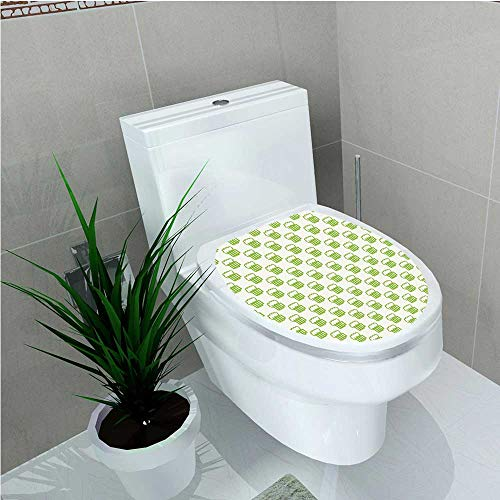 aolankaili Bathroom Toilet seat Sticker Decal Theme with Foamy Beer Glasses Celebration Fun Doodle Pattern Design Apple Green White W14 x L14