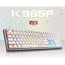 ABKO K985P V2 45g Capacitance Non-Contact Switch LED (16.8M RGB Color) Keyboard Nkey-Rollover, Stabilizer, Waterproof, Cherry MX Profile, PBT KeyCap (108 Keys English/Korean Layout)