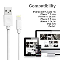 iPhone Charger, Quntis iPhone Charging Cable, 3 Pack 6ft Apple Certified 8 Pin USB Lightning to USB Cable Cord for iPhone 7 7 Plus 6 6S 6 Plus 5S SE iPod iPad Mini Air Pro and More (White)