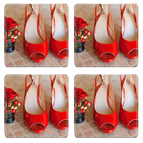 Luxlady Square Coaster women shoes red high heels IMAGE 34995324 Customized Art Home Kitchen
