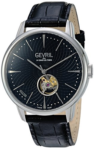 Gevril Mulberry Mens Open Heart Swiss Automatic Black Leather Strap Watch, (Model: 9600)