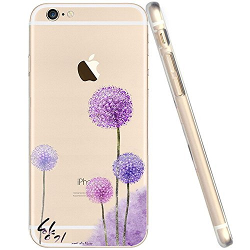For Iphone 6 Case, Let it be free Iphone 6 (4.7-inch) Protective Case Soft Flexible TPU Transparent Skin Scratch-proof Case for Iphone 6 (4.7-inch)- Purple Dandelion