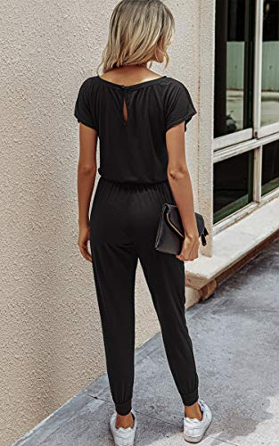 Angashion Women's Jumpsuits - Crewneck One Off Shoulder Short Sleeve Elastic Waist Romper Playsuits with Pockets Black S