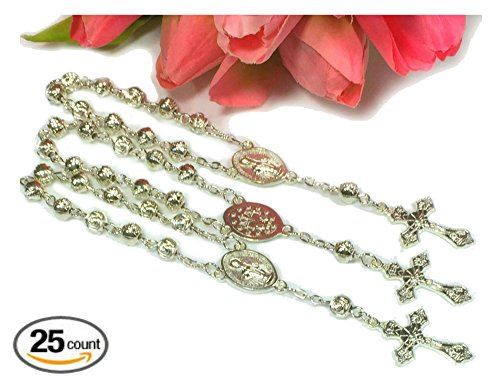 25 pc Silver-Cross Mini Rosaries / Party Favors / Baptism Party Favors / First Communion Party Favors. (Silver (1st Communion Favors)