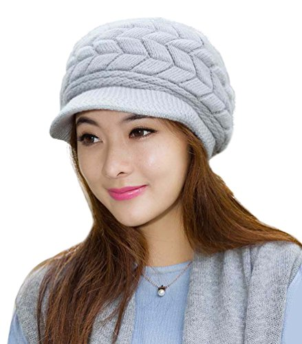 Women Fashions Hats Knit Wool HINDAWI Crochet Winter Snow Warm Cap with Visor Grey