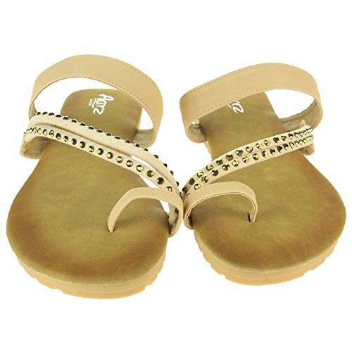 Mujer Señoras Dedo del pie Strappy Verano playa Casual Fiesta Punta abierta Comodidad Plano Sandalias Zapatos Tamaño Beige