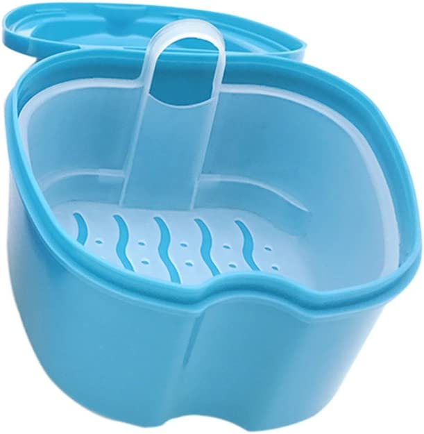 ULTNICE Caja de baño para dentadura postiza Caja de baño para dentadura postiza dental con contenedor de red colgante (Azul claro): Amazon.es: Salud y cuidado personal