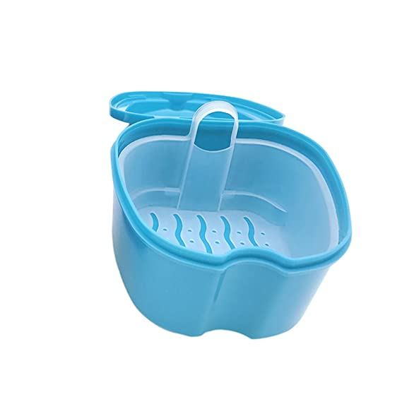 ULTNICE Caja de baño para dentadura postiza Caja de baño para dentadura postiza dental con contenedor de red colgante (Azul claro)