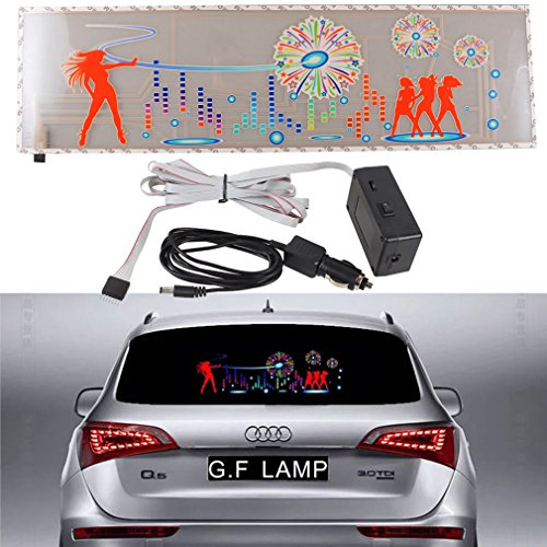 90x25cm Car Music Rhythm Flash Sticker Light, JackSuper Auto Vehicle LED Sound Activated Sensor Equalizer Lamp Stickers